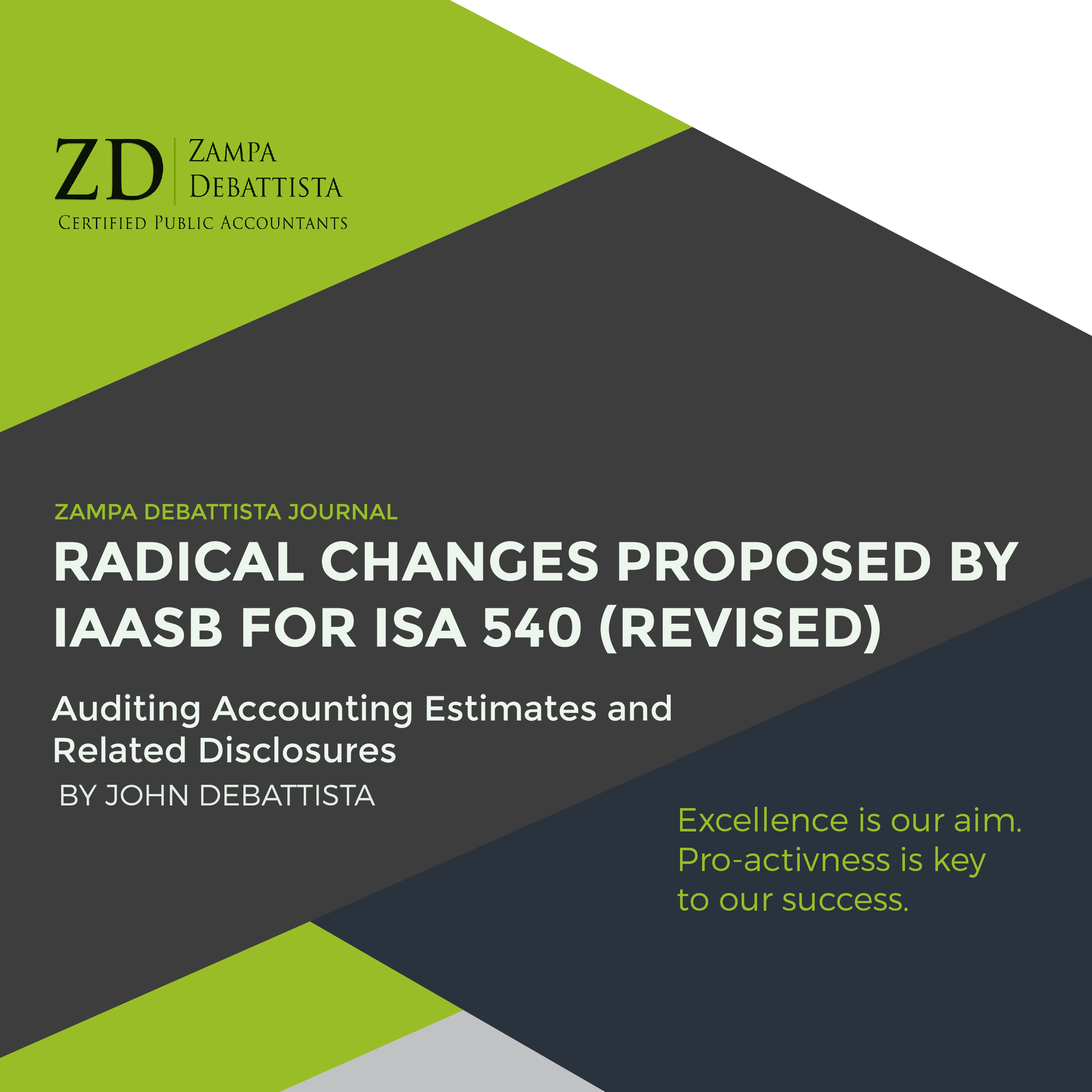 Radical Changes Proposed by IAASB for ISA 540 (Revised), Auditing Accounting Estimates and Related Disclosures – by John Debattista